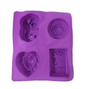 Forma de silicon Ingeras-Inimioara-Trandafir - 4 bucati