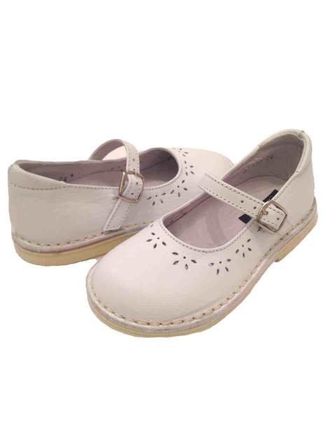fabbrica nuova alta qualità presa all'ingrosso Scarpe bambina con plantare ballerine Mary Jane bianche in pelle