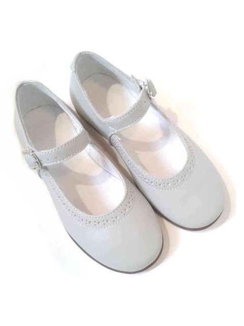 Top Ballerine bambina Mary Jane scarpe eleganti in pelle grigio perla QE72