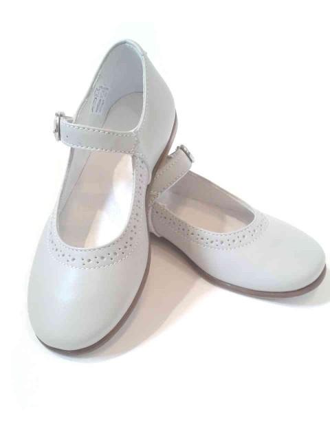 best service 84930 98689 Ballerine Mary Jane scarpe bambina pelle grigioperla cerimonia damigella