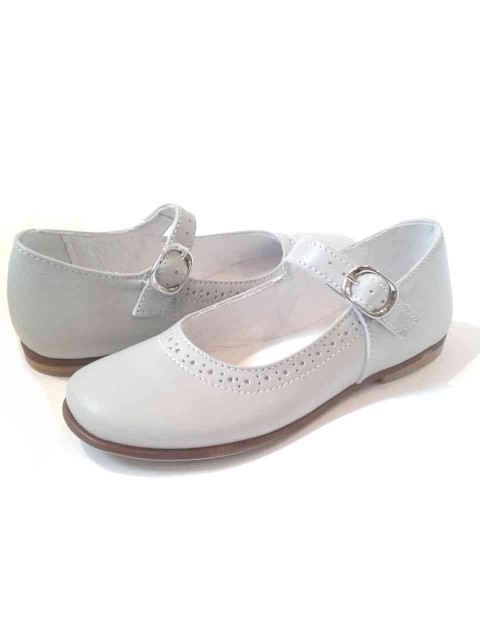 Favorito Ballerine bambina Mary Jane scarpe eleganti in pelle grigio perla PM49