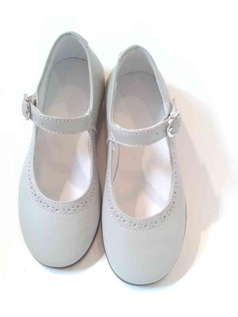 Eccezionale Ballerine bambina Mary Jane scarpe eleganti in pelle grigio perla GD13