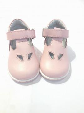 Scarpe rosa primi passi bimba in pelle due buchi occhielli 24