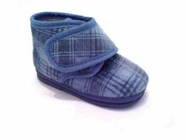 Pantofole invernali asilo bimbo velluto celeste suola in gomma apertura a strappo immagini