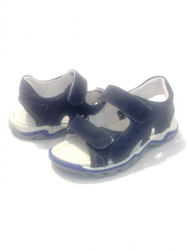 Sandali bambino pelle blu 26 apertura velcri regolabili cinturini apertura strappo immagini