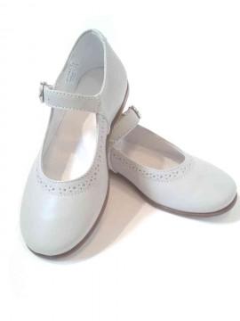 Ballerine Mary Jane scarpe bambina pelle grigioperla cerimonia damigella immagini