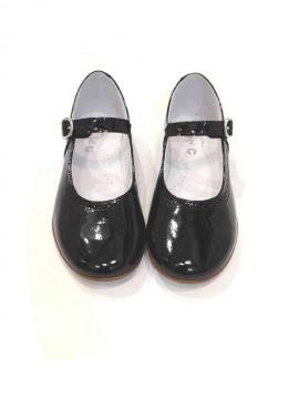Scarpe bambina ballerine Mary Jane nere lucide vernice immagini