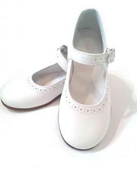 Scarpe bambina ballerine bianche cinturino comunione cerimonia immagini