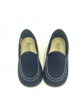 Mocassini bambino scarpe estive eleganti college tela blu cerimonia