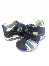 Sandali in pelle bimbo punta chiusa modello gabbietta apertura velcro misura 19