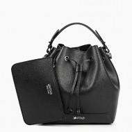 Geanta dama din piele naturala neagra Bucket Bag Yara by KROLE