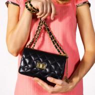 Geanta dama din piele naturala Neagra cu lant Alessia by Markese