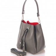 Geanta dama din piele naturala Gri Bucket bag Sara by Giorgio Costa