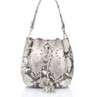 Geanta dama din piele naturala Gri - Snake Print Bucket bag Sara by Giulia Massari