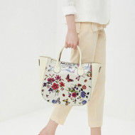 Geanta dama din piele naturala Bej - Floral Sunny by KROLE