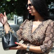 Geanta dama din piele naturala Neagra Bucket bag Nora by Markese