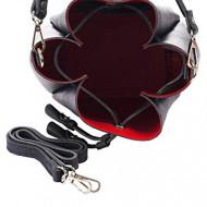 Geanta dama din piele naturala Neagra Bucket bag Sara by Giorgio Costa