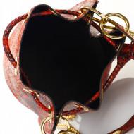 Geanta dama din piele naturala Rosie - Snake Print  Bucket bag Nora by Markese