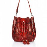 Geanta dama din piele naturala Rosie - Snake Print Bucket bag Sara by Giulia Massari
