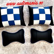 Set 4 Pernute Confort Negru cu Albastru
