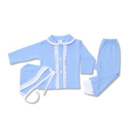 Costumas bleu cu dantela