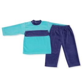 Costumas catifea turquoise cu bleumarine