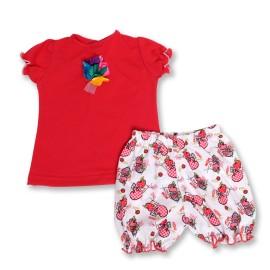 Costumas rosu pentru fetite