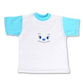 Tricou bebe alb cu bleu
