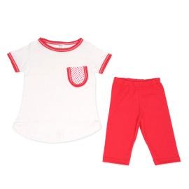 Bluzita si colanti rosii pentru copii
