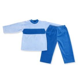 Costumas catifea bleu cu albastru