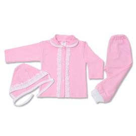 Costumas roz cu dantela