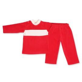Costumas catifea rosie si crem