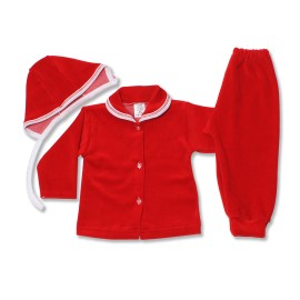 Poze Costumas bebe din catifea rosie