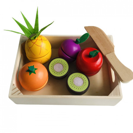 Jucarie de rol - fructe din lemn de taiat