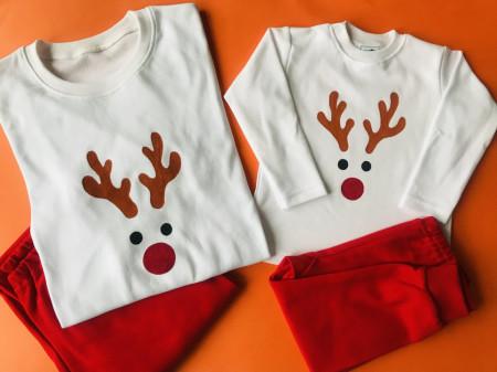 Pijamale pictate pentru Craciun - set adult si copil