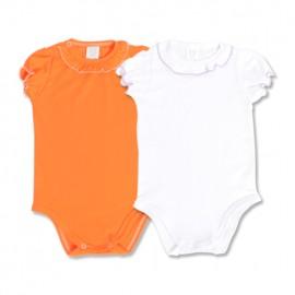 Set body alb si portocaliu pentru fetite