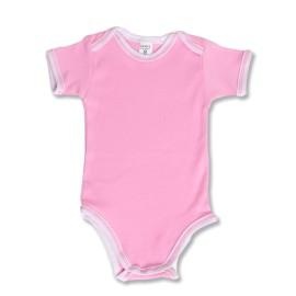Body bebe roz cu maneci scurte