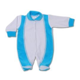 Salopeta bebe din catifea cu turquoise