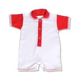 Salopeta scurta rosie pentru bebe
