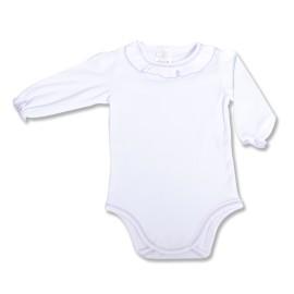 Body alb cu lila pentru fetita - maneci lungi