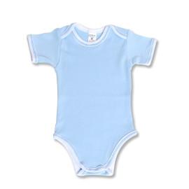 Body bebe bleu cu maneci scurte
