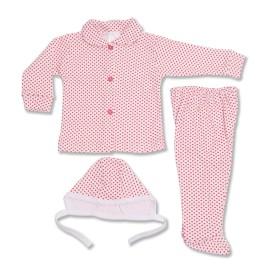 Costumas bebe cu imprimeu rosu