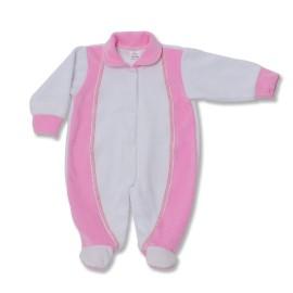 Salopeta bebe din catifea cu roz