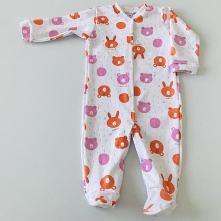 Salopeta lunga cu ursuleti roz si portocalii