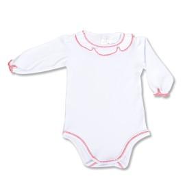 Body alb cu rosu pentru fetita - maneci lungi
