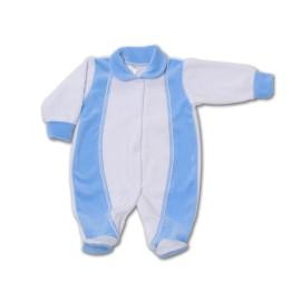 Salopeta bebe din catifea cu bleu