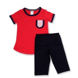 Bluzita rosie si colanti bleumarine pentru copii