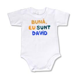 Body bebe pictat cu numele bebelusului tau
