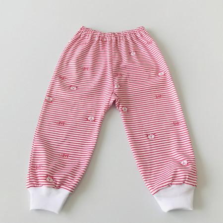 Pantalon bebe cu dungi rosii si ursuleti