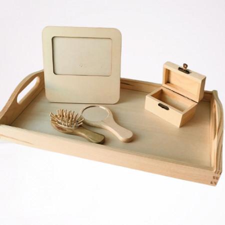 Tavita din lemn cu accesorii pentru taiere mot si turta